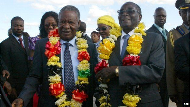 Mr Sata and Zimbabwean President Robert Mugabe during a state visit to Harare