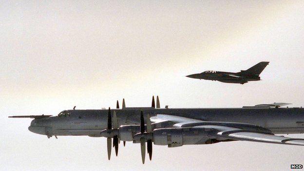 Tu-95 Bear bomber accompanied by RAF F3 Tornado, September 2007