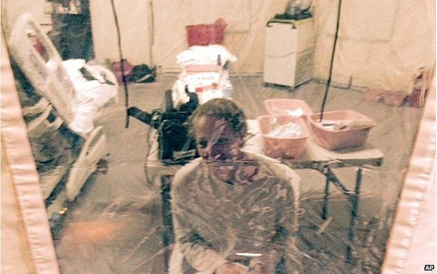 Ms Hickox in a tent in Newark, New Jersey