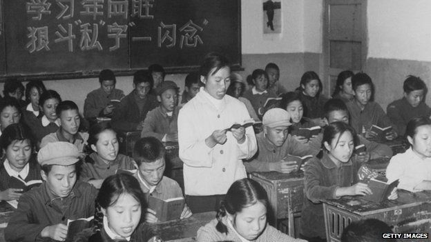 Young members of Red Guards, high school students, reading the copies of Little Red Book in November 1967