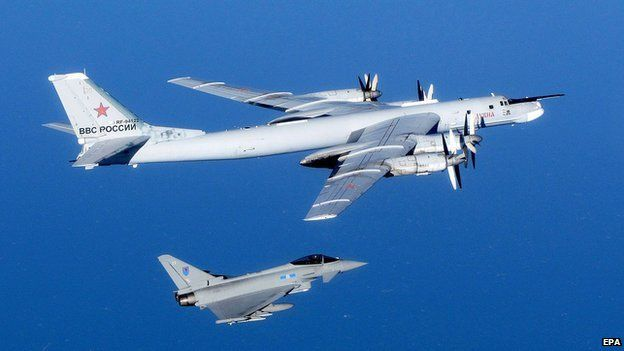 RAF Typhoon jet intercepting Tu-95 Bear bomber, 16 Sep 14