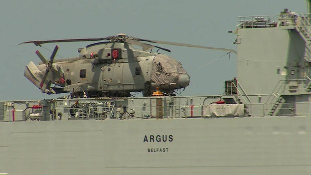 A helicopter aboard the RFA Argus