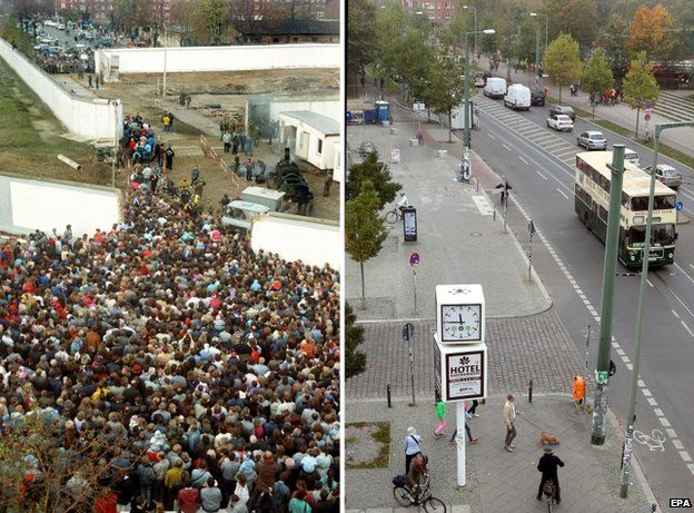 Bernauer street on 10 November 1989 (L) as crowds push through a hole in the wall and the same street today (R)