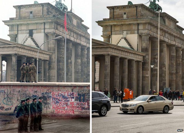 Berlin's Brandenburg Gate in December 1989 (L) with East and West German policemen and (R) today