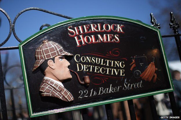 "Sign for ""Sherlock Holmes, consulting detective, 221b Baker Street"