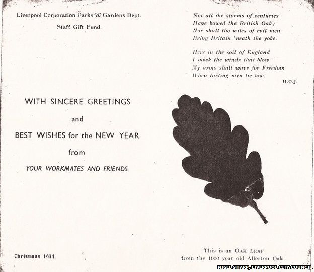 In 1941, this Christmas card containing a leaf from the Allerton Oak was sent to soldiers