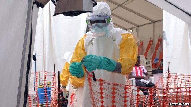 Healthcare worker in protective gear