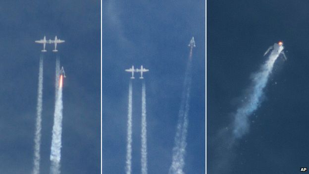 The Virgin Galactic SpaceShipTwo rocket explodes in the air during a test flight - 31 October 2014