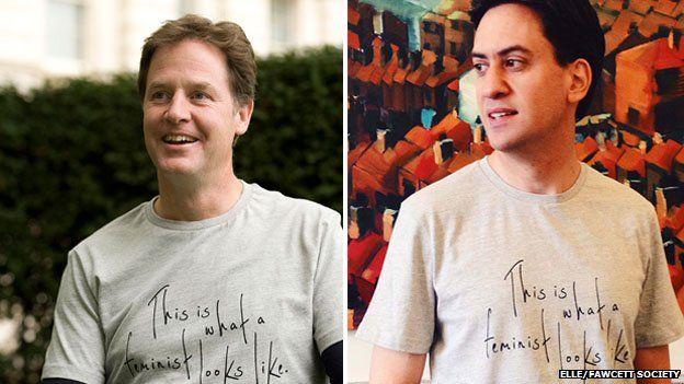 Clegg and Miliband wear pro-feminism T-shirt