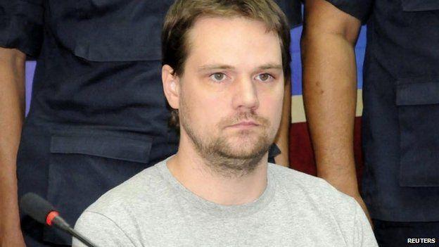 Hans Fredrik Lennart Neij pictured after his arrest in Thailand