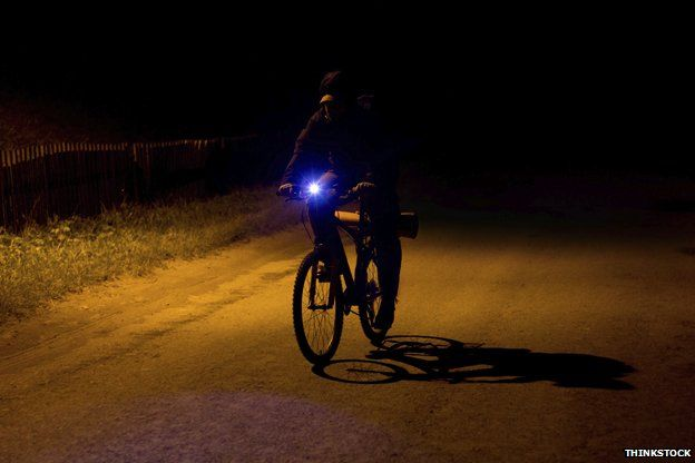 Cyclist in dark with light on