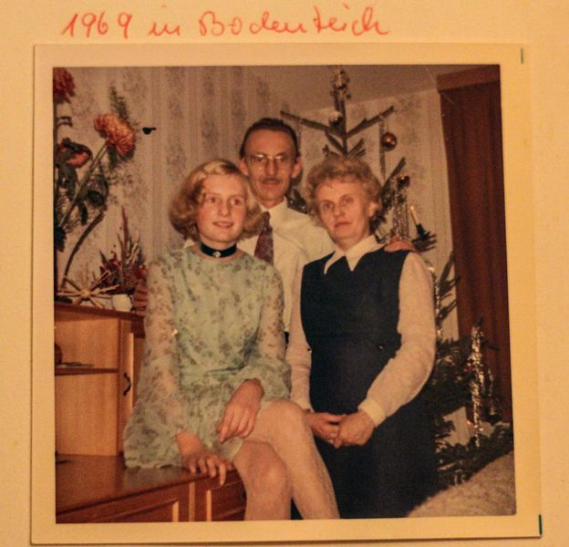 Daniela Walther with her parents after the move to West Germany - Christmas 1969