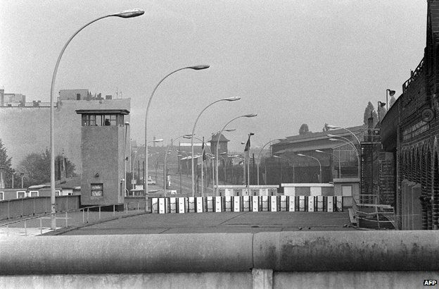 A watchtower on a bridge on the Spree river, marking the border between East and West Berlin