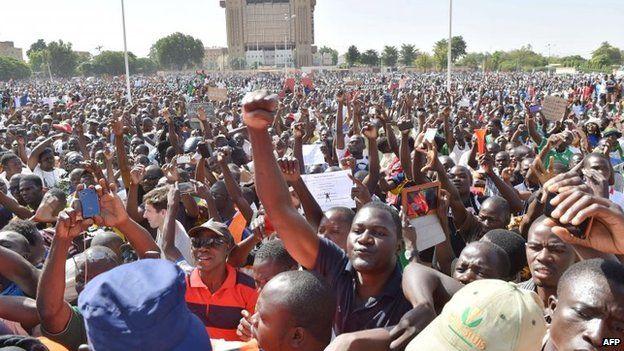 Protests in Ouagadougou on Sunday 2 November , Burkina Faso