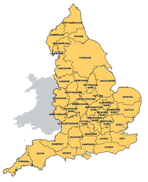Image result for Size of British counties