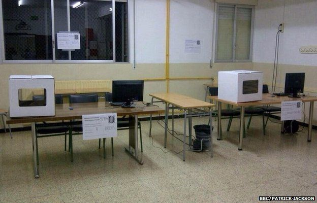 One of the polling stations in Barcelona, Spain 8 November 2014
