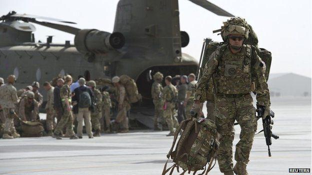 British troops at Kandahar Airfield on October 27, 2014