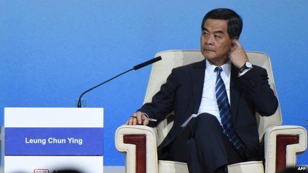 Hong Kong Chief Executive CY Leung at the APEC CEO Summit at the China National Convention Centre (CNCC) in Beijing (9 November 2014)