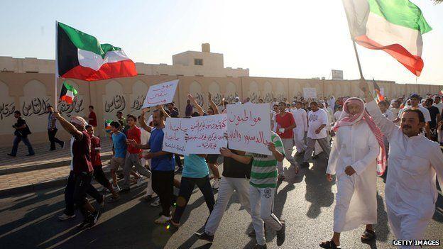 Stateless Arabs, known as Bidun, demand Kuwaiti citizenship and basic rights, in Jahra. 2 October 2013