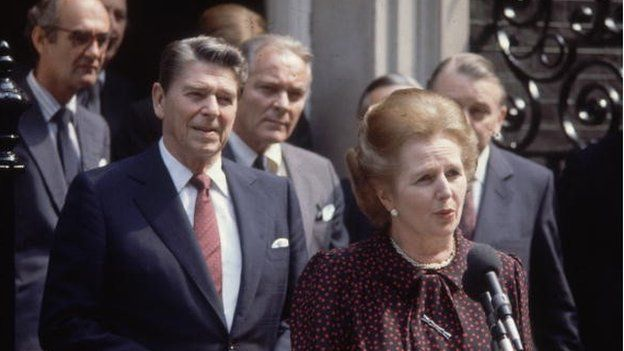Margaret Thatcher and Ronald Reagan outside Number 10, Downing Street, 1982