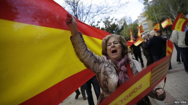 Unionist protester in Madrid