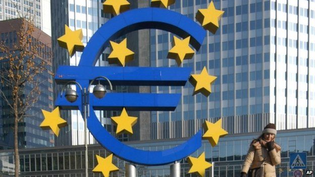 Euro logo outside the European Central Bank in Frankfurt