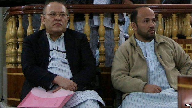 Sherkhan Farnood and Khalilullah Ferozi appear in court in Kabul