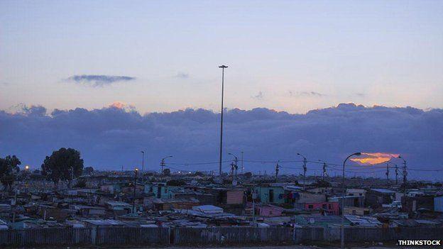 Gugulethu township at sunset