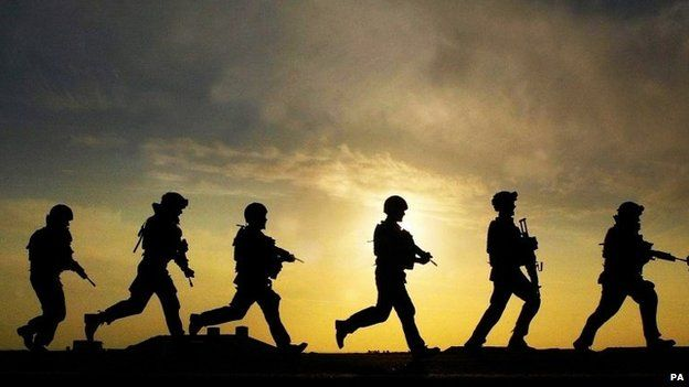 British soldiers in silhouette