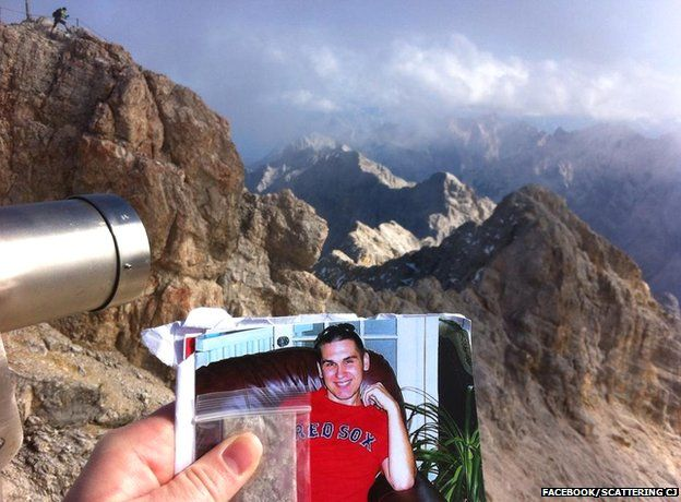 CJ's ashes and his photograph on the Zugspitze, the highest mountain in Germany