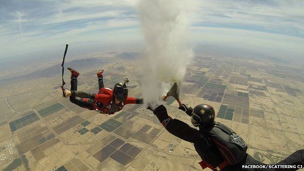 Scattering CJ's ashes during a skydive over Eloy, Arizona