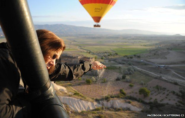 CJ's ashes being scattered from a hot air balloon over Cappadocia, Turkey