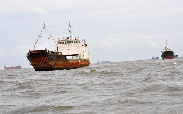 Ships off the coast, at Lagos