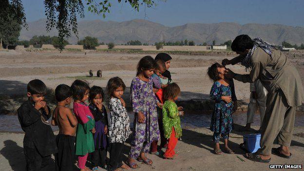 Children being vaccinated