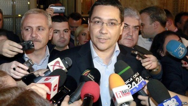 Victor Ponta makes a statement at his party headquarters in Bucharest, Romania on 16 November 2014
