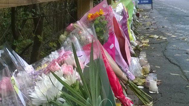 Flowers left on pavement