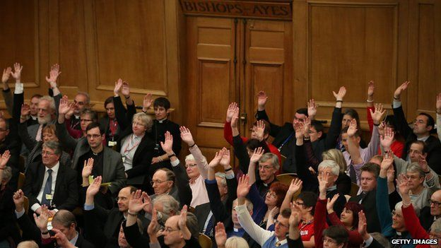 Clergy casts votes in favour of women Bishops at the Anglican General Synod on 17 November 2014