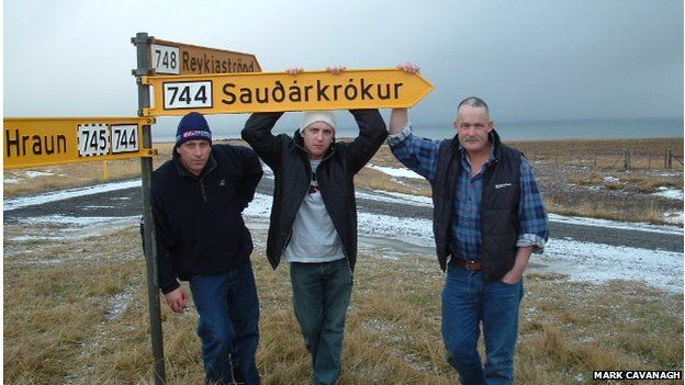 Picture of Mark Cavanagh (C) with meatworks colleagues in 2004 in Iceland