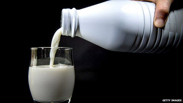 A photograph of milk being poured into a glass.