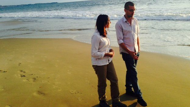 Tulip Mazumdar and William Pooley on beach