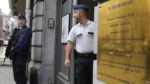 File photo: Armed police officers guard the entrance of the Brussels Jewish Museum, after the museum revealed a commemorative plaque for the victims of a shooting, in Brussels, 9 September 2014