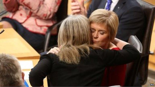 Nicola Sturgeon was congratulated by fellow MSP Shona Robin in the Holyrood chamber
