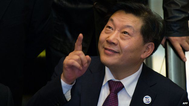 Lu Wei, China's Minister of Cyberspace Affairs Administration, gestures after giving a speech at the opening ceremony of the World Internet Conference in Wuzhen