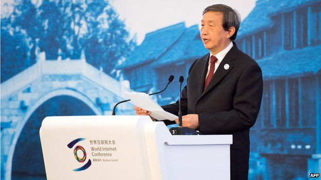Chinese Vice Premier Ma Kai speaks at the opening ceremony of the World Internet Conference in Wuzhen on 19 November, 2014