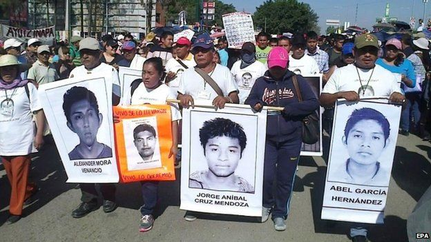 A rally by relatives of the 43 missing Mexican students