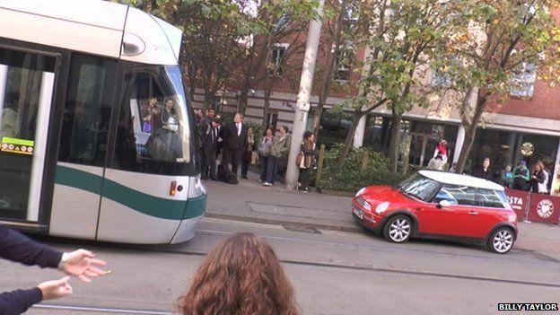 Car and tram