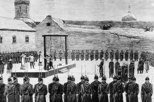Execution of two nihilists in St Petersburg, 1880