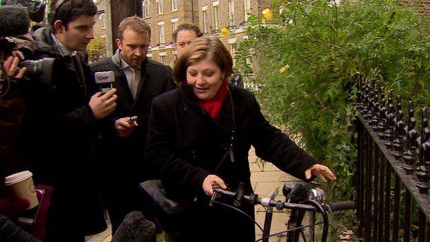 Former shadow minister Emily Thornberry leaving her London home