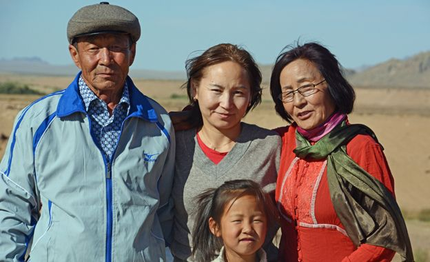 Uuganaa with her family