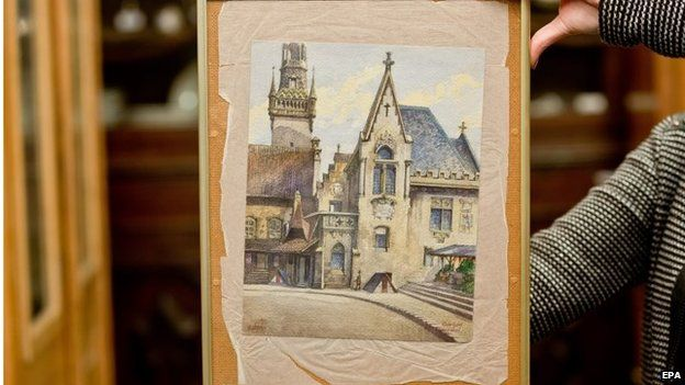 """The watercolour painting """"Altes Rathaus"""" which was supposedly painted by Adolf Hitler, is shown at an auction house in Nuremberg, Germany, 20 November 2014"""
